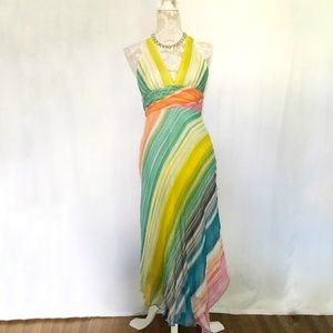 BCBGMaxazria // Rainbow Striped Beaded Maxi Dress